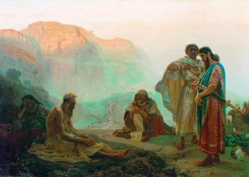 """quadro """"jó e seus amigos"""", de ilya yefimovich repin, 1869."""