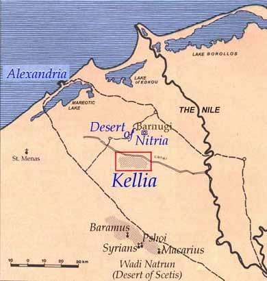 mapa de onde ficavam os padres do deserto